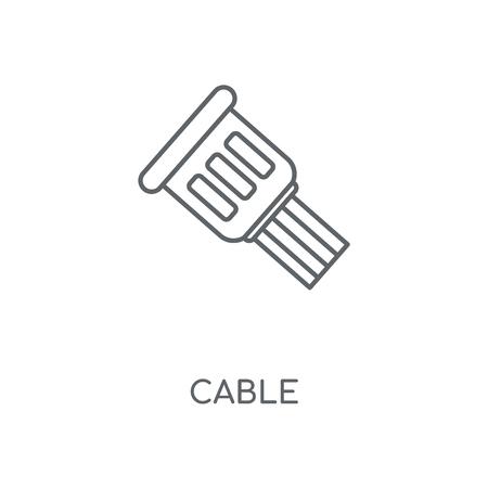 Icono lineal de cable. Diseño de símbolo de trazo de concepto de cable. Ilustración de vector de elementos gráficos finos, patrón de contorno sobre un fondo blanco, eps 10.