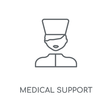 Medical support linear icon. Medical support concept stroke symbol design. Thin graphic elements vector illustration, outline pattern on a white background, eps 10.