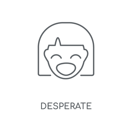 Desperate linear icon. Desperate concept stroke symbol design. Thin graphic elements vector illustration, outline pattern on a white background, eps 10.