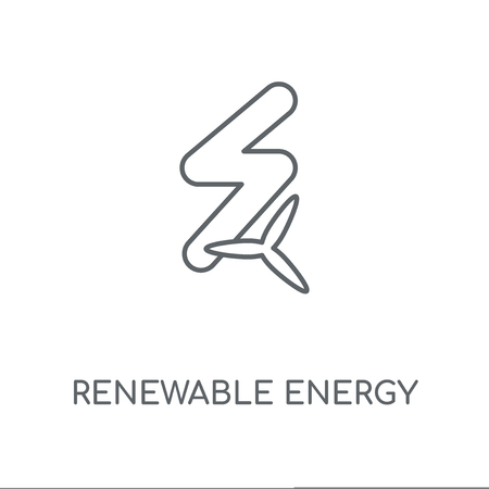 Renewable energy linear icon. Renewable energy concept stroke symbol design. Thin graphic elements vector illustration, outline pattern on a white background, eps 10.