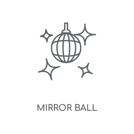 Mirror ball linear icon. Mirror ball concept stroke symbol design. Thin graphic elements vector illustration, outline pattern on a white background, eps 10.