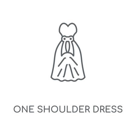 One Shoulder Dress linear icon. One Shoulder Dress concept stroke symbol design. Thin graphic elements vector illustration, outline pattern on a white background, eps 10.