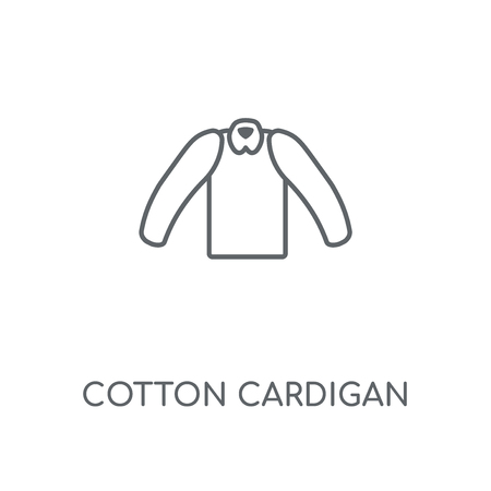 Cotton Cardigan linear icon. Cotton Cardigan concept stroke symbol design. Thin graphic elements vector illustration, outline pattern on a white background, eps 10. Çizim