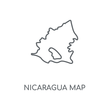Nicaragua map linear icon. Nicaragua map concept stroke symbol design. Thin graphic elements vector illustration, outline pattern on a white background, eps 10.