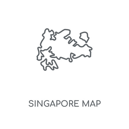 Singapore map linear icon. Singapore map concept stroke symbol design. Thin graphic elements vector illustration, outline pattern on a white background, eps 10.