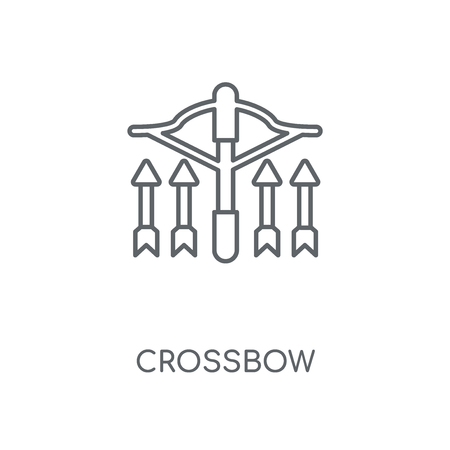Crossbow linear icon. Crossbow concept stroke symbol design. Thin graphic elements vector illustration, outline pattern on a white background, eps 10.