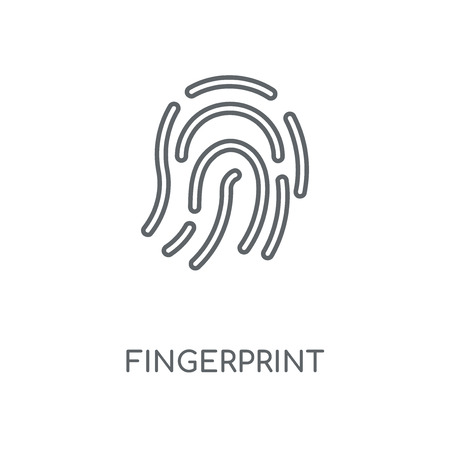Fingerprint linear icon. Fingerprint concept stroke symbol design. Thin graphic elements vector illustration, outline pattern on a white background, eps 10. Çizim