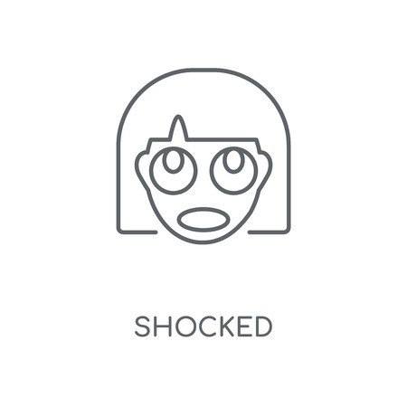 Shocked linear icon. Shocked concept stroke symbol design. Thin graphic elements vector illustration, outline pattern on a white background, eps 10.