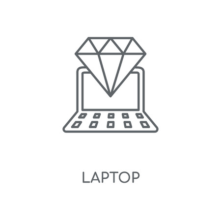 Laptop linear icon. Laptop concept stroke symbol design. Thin graphic elements vector illustration, outline pattern on a white background, eps 10. Çizim