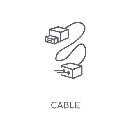 Cable linear icon. Cable concept stroke symbol design. Thin graphic elements vector illustration, outline pattern on a white background, eps 10.  イラスト・ベクター素材