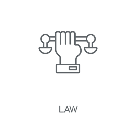 Law linear icon. Law concept stroke symbol design. Thin graphic elements vector illustration, outline pattern on a white background, eps 10.  イラスト・ベクター素材
