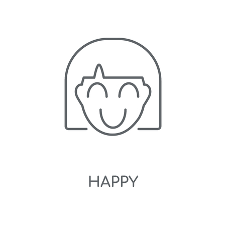 Happy linear icon. Happy concept stroke symbol design. Thin graphic elements vector illustration, outline pattern on a white background, eps 10.  イラスト・ベクター素材