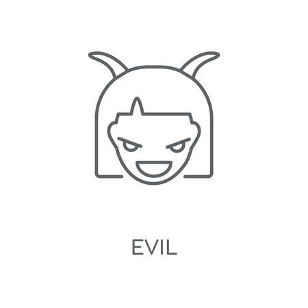 Evil linear icon. Evil concept stroke symbol design. Thin graphic elements vector illustration, outline pattern on a white background, eps 10.  イラスト・ベクター素材