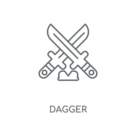 Dagger linear icon. Dagger concept stroke symbol design. Thin graphic elements vector illustration, outline pattern on a white background, eps 10.