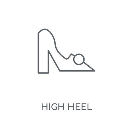High heel linear icon. High heel concept stroke symbol design. Thin graphic elements vector illustration, outline pattern on a white background, eps 10.  イラスト・ベクター素材