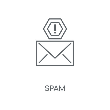 Spam linear icon. Spam concept stroke symbol design. Thin graphic elements vector illustration, outline pattern on a white background, eps 10. Stok Fotoğraf - 113803752