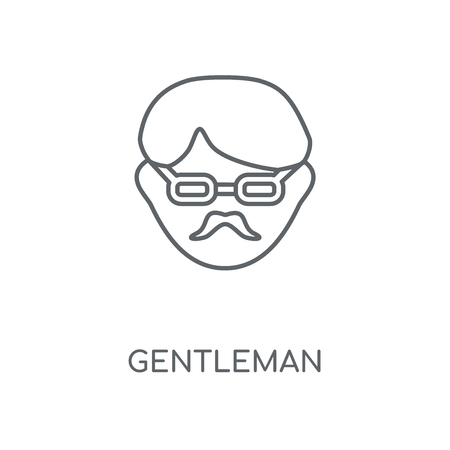 Gentleman linear icon. Gentleman concept stroke symbol design. Thin graphic elements vector illustration, outline pattern on a white background, eps 10.  イラスト・ベクター素材