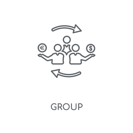 Group linear icon. Group concept stroke symbol design. Thin graphic elements vector illustration, outline pattern on a white background, eps 10.  イラスト・ベクター素材