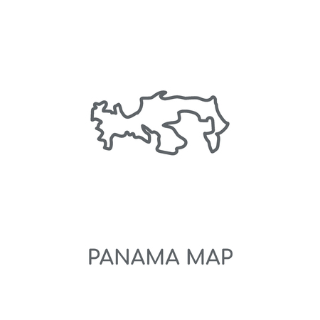 Panama map linear icon. Panama map concept stroke symbol design. Thin graphic elements vector illustration, outline pattern on a white background, eps 10.