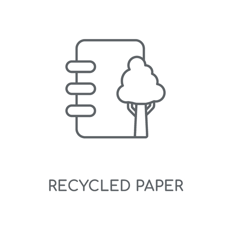 Recycled paper linear icon. Recycled paper concept stroke symbol design. Thin graphic elements vector illustration, outline pattern on a white background, eps 10.