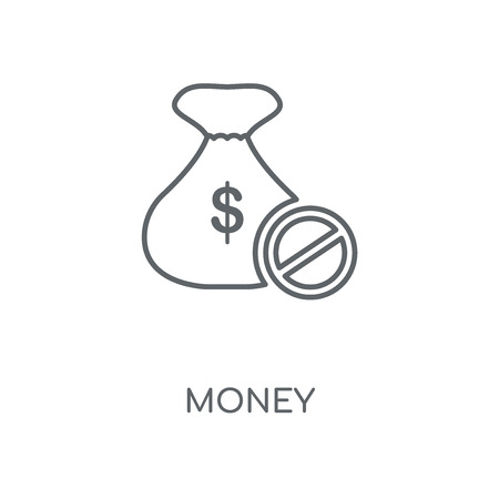 Money linear icon. Money concept stroke symbol design. Thin graphic elements vector illustration, outline pattern on a white background, eps 10.