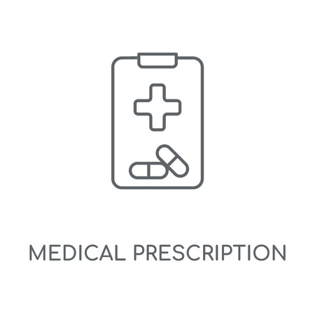Medical prescription linear icon. Medical prescription concept stroke symbol design. Thin graphic elements vector illustration, outline pattern on a white background, eps 10.