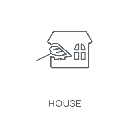 House linear icon. House concept stroke symbol design. Thin graphic elements vector illustration, outline pattern on a white background, eps 10.
