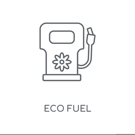 Eco fuel linear icon. Eco fuel concept stroke symbol design. Thin graphic elements vector illustration, outline pattern on a white background, eps 10. Stok Fotoğraf - 113803917
