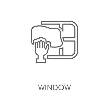 Window linear icon. Window concept stroke symbol design. Thin graphic elements vector illustration, outline pattern on a white background, eps 10.  イラスト・ベクター素材