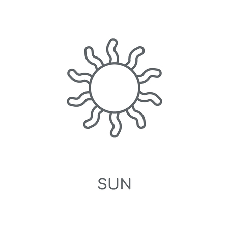 Sun linear icon. Sun concept stroke symbol design. Thin graphic elements vector illustration, outline pattern on a white background, eps 10.  イラスト・ベクター素材