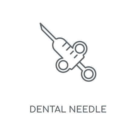 Dental needle linear icon. Dental needle concept stroke symbol design. Thin graphic elements vector illustration, outline pattern on a white background, eps 10.  イラスト・ベクター素材