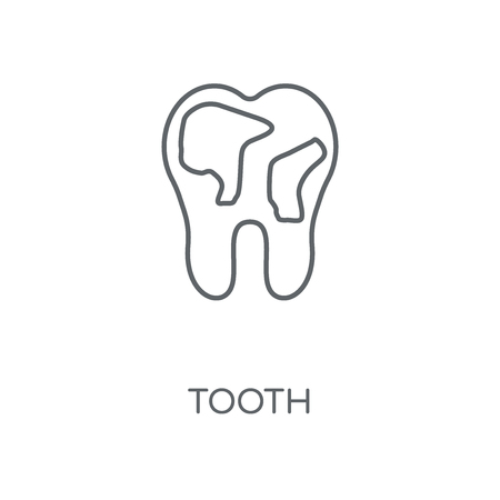 Tooth linear icon. Tooth concept stroke symbol design. Thin graphic elements vector illustration, outline pattern on a white background, eps 10.