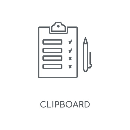 Clipboard linear icon. Clipboard concept stroke symbol design. Thin graphic elements vector illustration, outline pattern on a white background, eps 10.