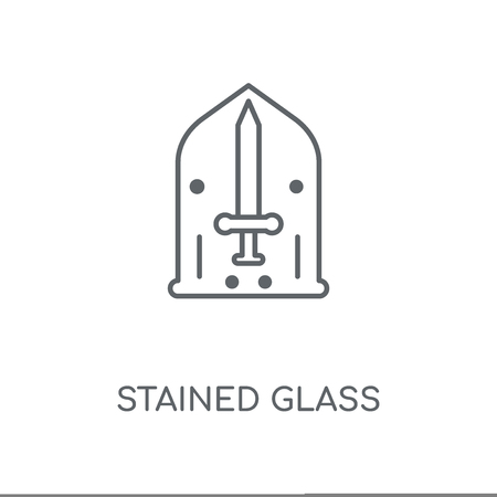 Stained glass linear icon. Stained glass concept stroke symbol design. Thin graphic elements vector illustration, outline pattern on a white background, eps 10.  イラスト・ベクター素材