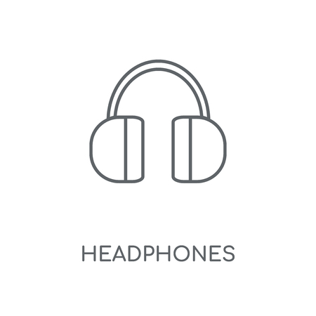 Headphones linear icon. Headphones concept stroke symbol design. Thin graphic elements vector illustration, outline pattern on a white background, eps 10.  イラスト・ベクター素材