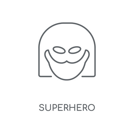 Superhero linear icon. Superhero concept stroke symbol design. Thin graphic elements vector illustration, outline pattern on a white background, eps 10.