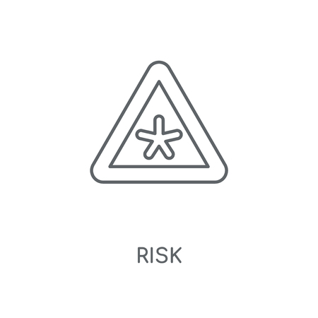 Risk linear icon. Risk concept stroke symbol design. Thin graphic elements vector illustration, outline pattern on a white background, eps 10.  イラスト・ベクター素材