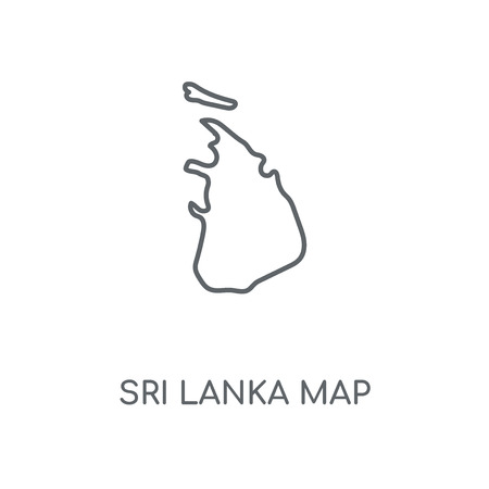 Sri Lanka map linear icon. Sri Lanka map concept stroke symbol design. Thin graphic elements vector illustration, outline pattern on a white background, eps 10.