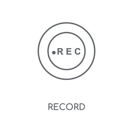 Record linear icon. Record concept stroke symbol design. Thin graphic elements vector illustration, outline pattern on a white background, eps 10.