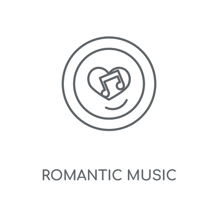 Romantic music linear icon. Romantic music concept stroke symbol design. Thin graphic elements vector illustration, outline pattern on a white background, eps 10. Stok Fotoğraf - 113804205