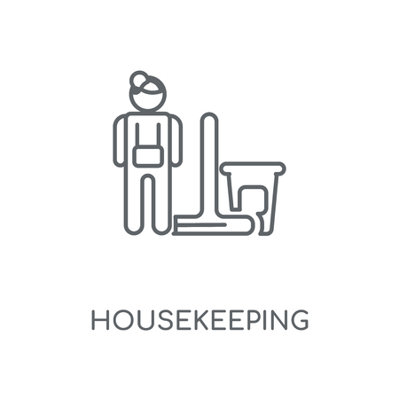 Housekeeping linear icon. Housekeeping concept stroke symbol design. Thin graphic elements vector illustration, outline pattern on a white background, eps 10.