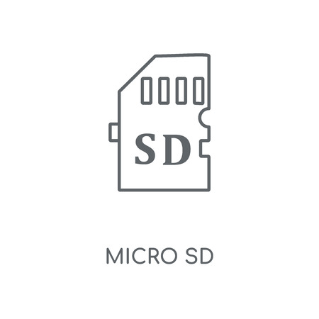 Micro sd linear icon. Micro sd concept stroke symbol design. Thin graphic elements vector illustration, outline pattern on a white background, eps 10.