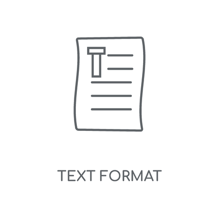 Text format linear icon. Text format concept stroke symbol design. Thin graphic elements vector illustration, outline pattern on a white background, eps 10.