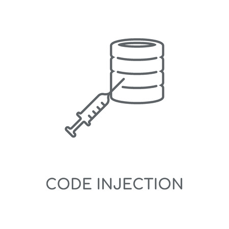 Code injection linear icon. Code injection concept stroke symbol design. Thin graphic elements vector illustration, outline pattern on a white background, eps 10. Vectores