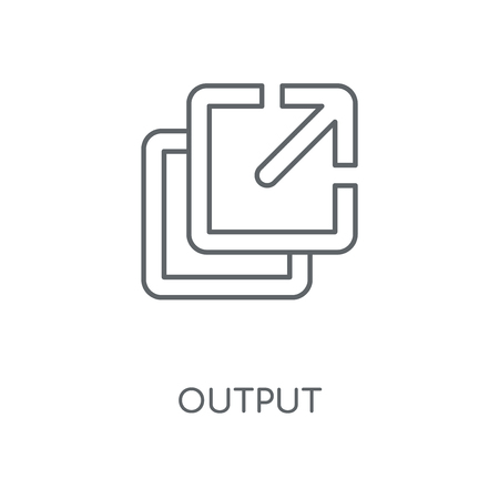 Output linear icon. Output concept stroke symbol design. Thin graphic elements vector illustration, outline pattern on a white background, eps 10. Ilustração