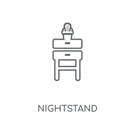Nightstand linear icon. Nightstand concept stroke symbol design. Thin graphic elements vector illustration, outline pattern on a white background, eps 10. Archivio Fotografico - 111496539