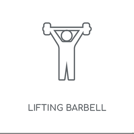 Lifting Barbell linear icon. Lifting Barbell concept stroke symbol design. Thin graphic elements vector illustration, outline pattern on a white background, eps 10.