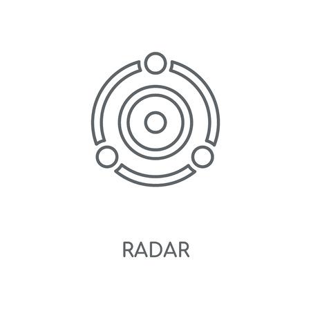 Icône linéaire radar. Conception de symbole de course de concept de radar. Illustration vectorielle d'éléments graphiques minces, motif de contour sur fond blanc, eps 10.