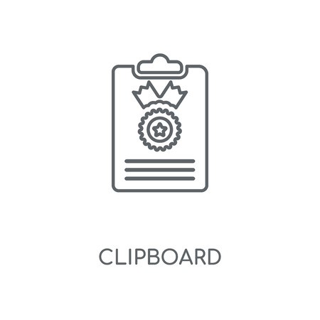 Clipboard linear icon. Clipboard concept stroke symbol design. Thin graphic elements vector illustration, outline pattern on a white background, eps 10. Reklamní fotografie - 112555839
