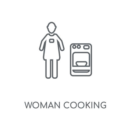 Woman cooking linear icon. Woman cooking concept stroke symbol design. Thin graphic elements vector illustration, outline pattern on a white background, eps 10. Çizim